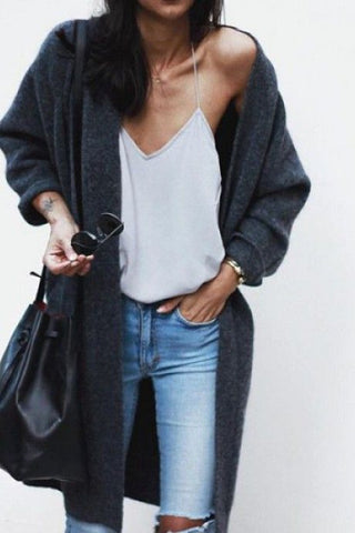 Grey cardigan denim street style fashion