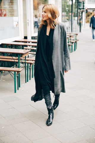 Majawyh street style grey black outfit coat georgia alice