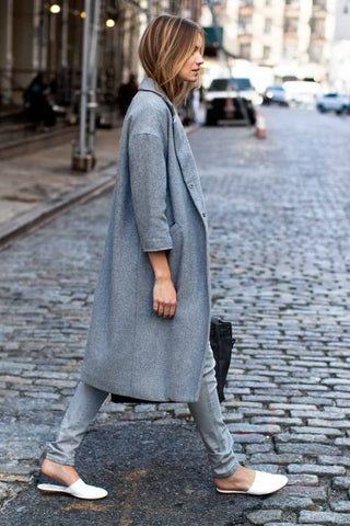 Grey coat and denim loafers street style fashion