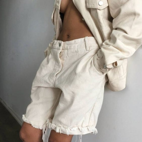 Yeezy ivory denim shorts - Outfit
