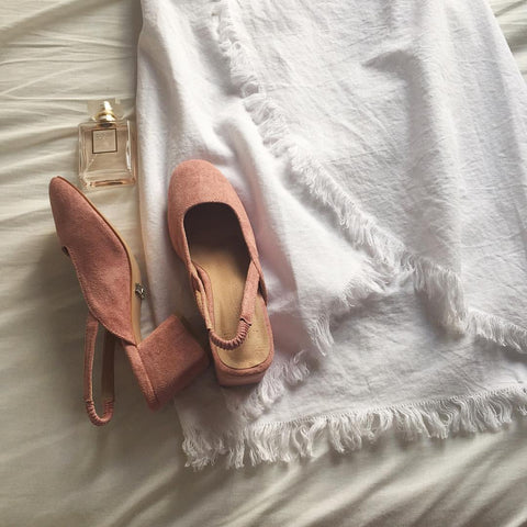 White skirt with suede heels - Ketra wrap skirt - Ellis and Friends