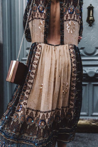 Bohemian brown embroided fashion dress