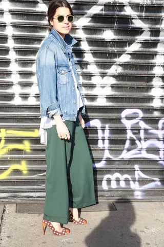 Man repeller green culottes