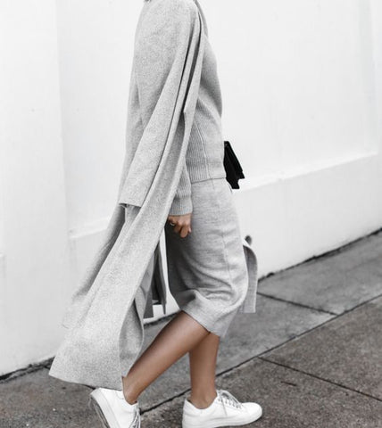 Grey coat knitted skirt street style fashion