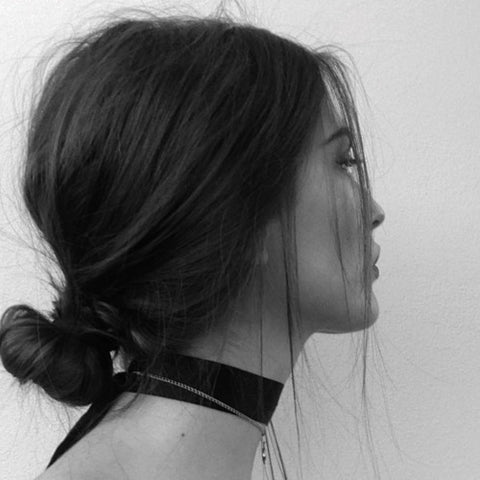 Messy bun choker necklace