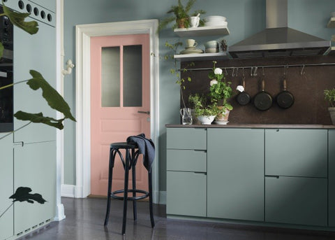 Cute pastel coloured kitchen
