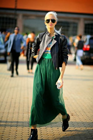 Green pleated skirt fashion week