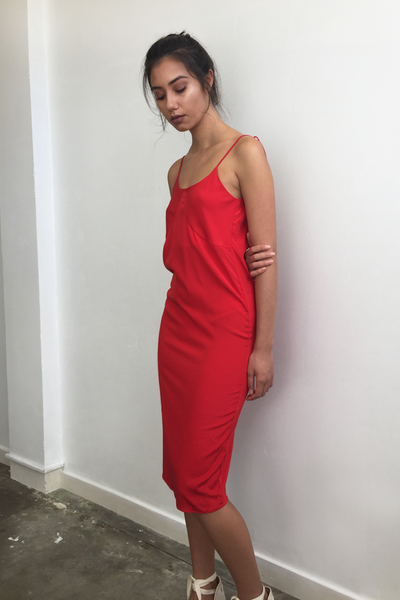 Red midi dress - Ellis Label - Womens designer fashion online - New Zealand - Ellis and Friends