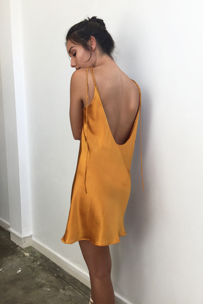 Burnt gold silk mini dress - Womens designer fashion online - New Zealand - Ellis and Friends