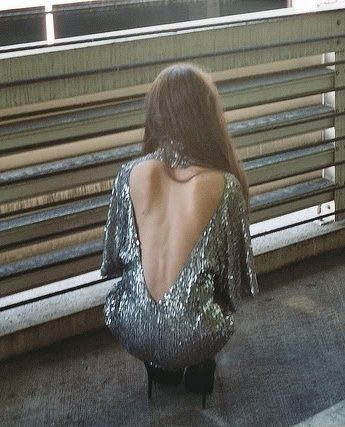 Heart shaped back sequin dress