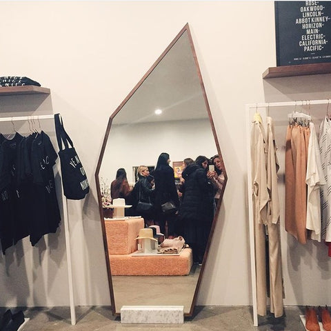Geometric mirror fashion retail