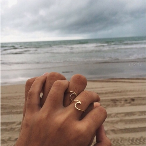 Wave ring ocean gold