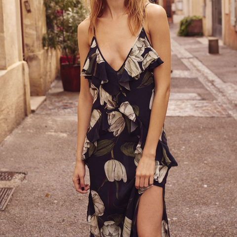 Shop dresses online - Printed floral midi dress - Womens designer fashion New Zealand