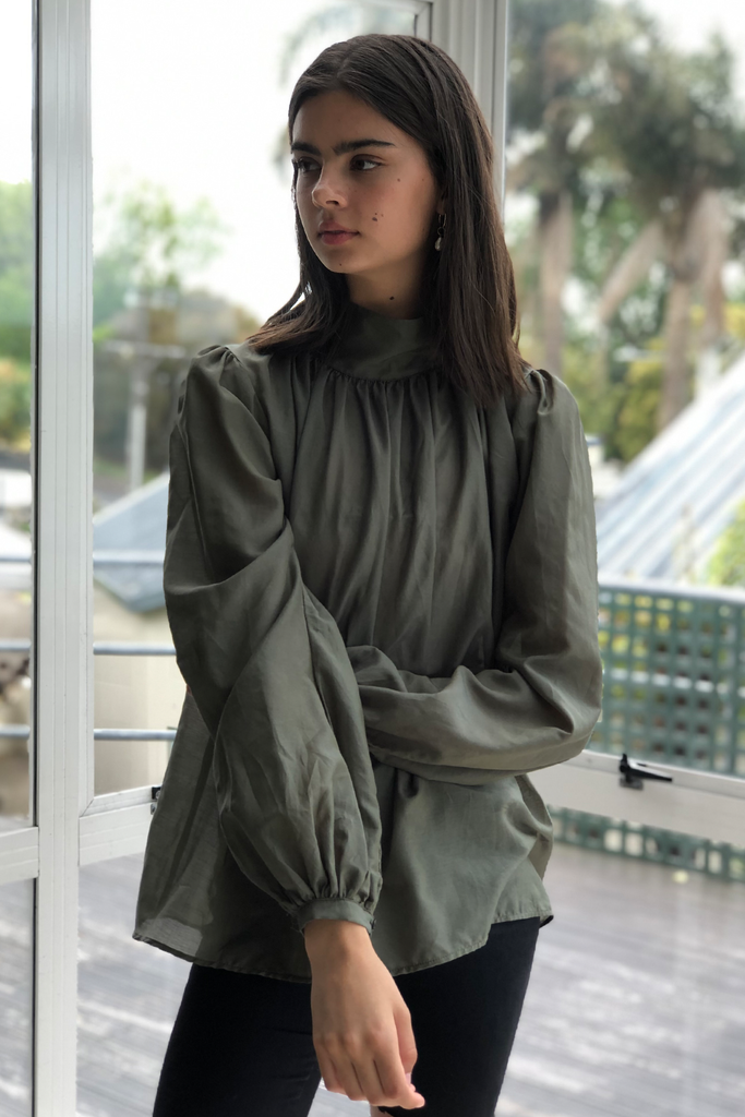 Ami Blouse in Khaki, Tops, Ellis Label - Ellis and Friends