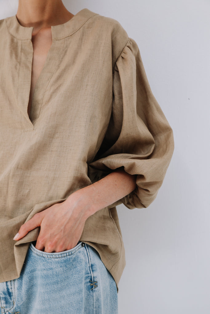 Bo Blouse in Camel, Tops, Ellis Label - Ellis and Friends