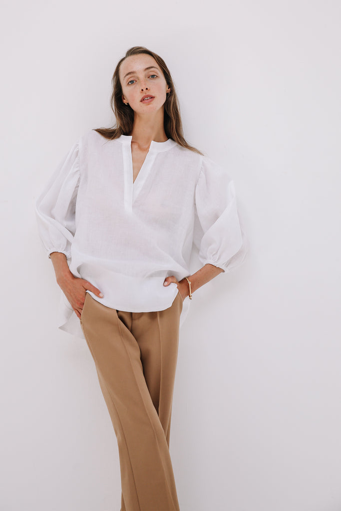 Bo Blouse in White, Tops, Ellis Label - Ellis and Friends