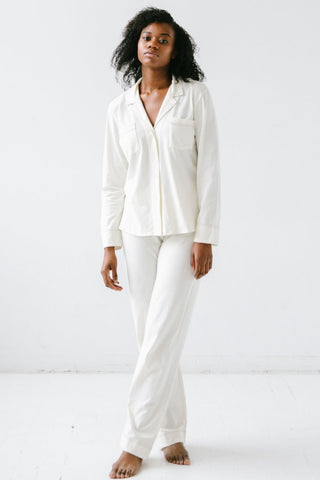 Pima Notch Collar PJs with Contrast Stitch Detail
