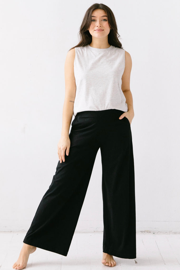 Pima Cotton Wide Leg Pants