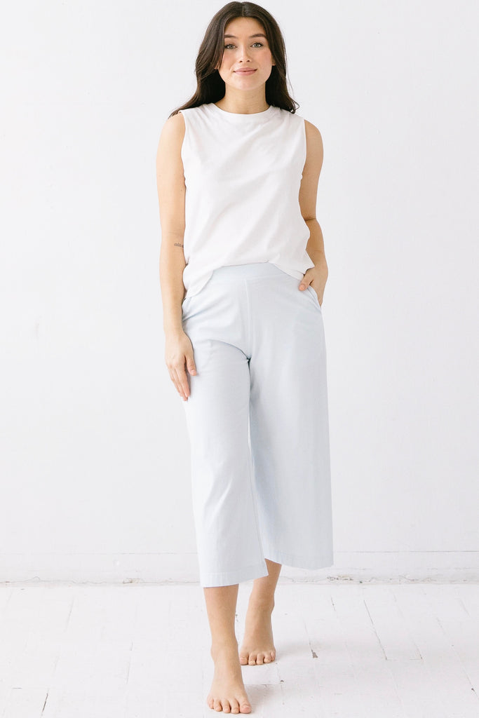Pima Cotton Wide Leg Capris