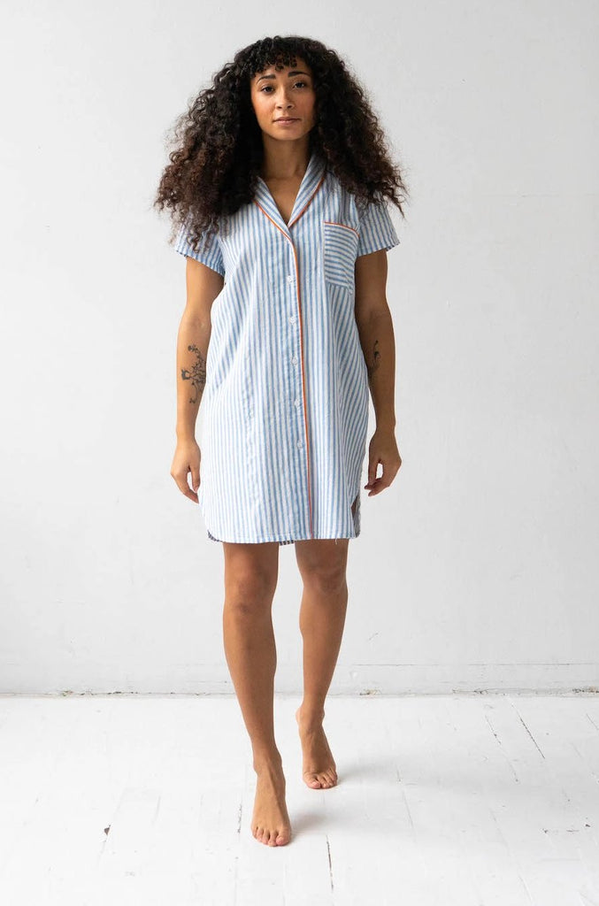 Shawl Collar Striped Boyfriend Shirt