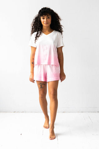 Pima V-Neck Gradient Tee and Shorties