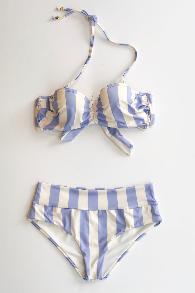 Estivo/Salua Wide Band Bikini Bottom - Lilac & Ivory Stripe