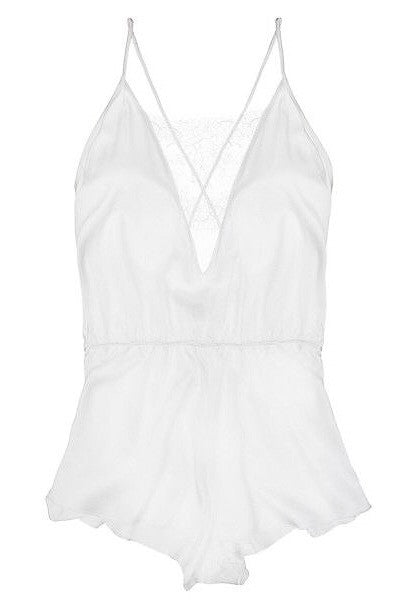 Delicate Salua Lingerie Romper Sexy Beautiful White Bridal