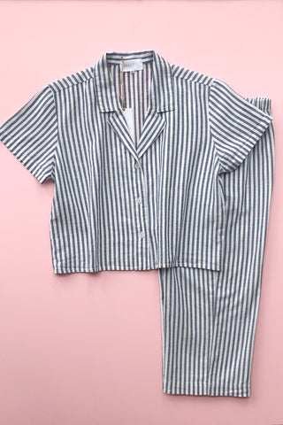 Cropped Button Down-High Waisted  Striped Capri