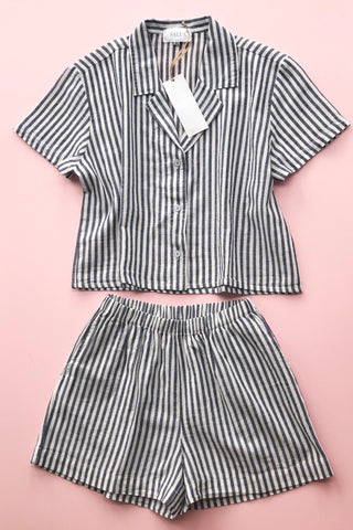 Cropped Button Down-High Waisted Striped Shorties