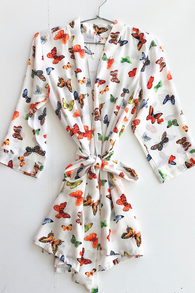 Butterflies Silk Robe