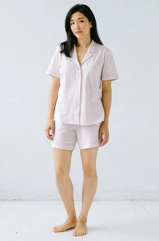 Pima Notch Collar Shortie Pj's w/Contrast Stitching