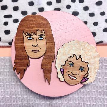 Brooch: Kath and Kim double brooch set