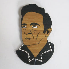 Johnny Cash brooch handmade man in black