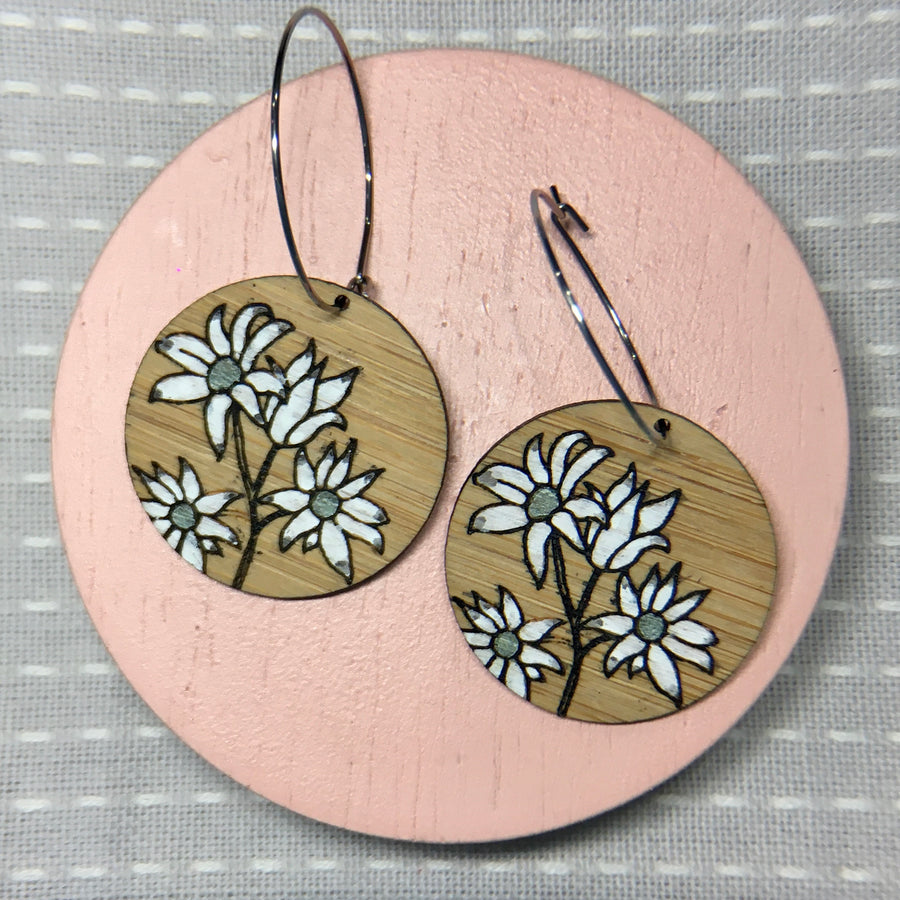 Floral Hoop Earrings - Flannel Flower