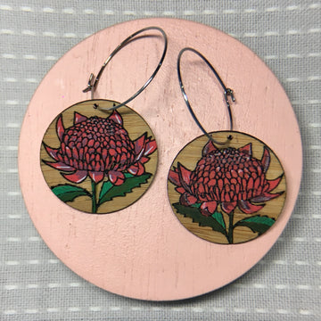 Floral Hoop Earrings - Waratah
