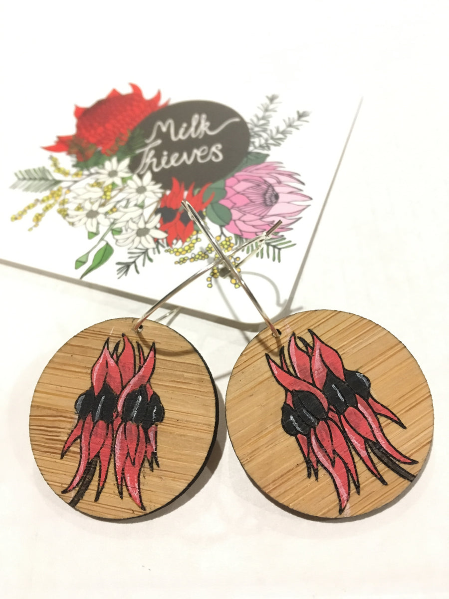 Floral Hoop Earrings - Sturt Desert Pea