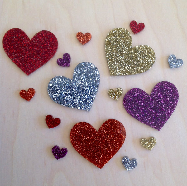 Sparkly Hearts: Brooch or Studs