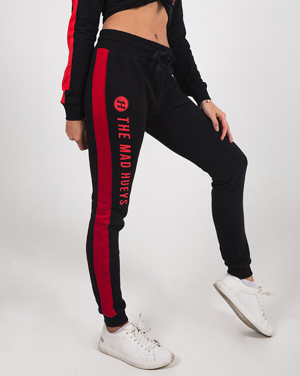 WOMENS BASIC TRACKPANT - BLACK/RED