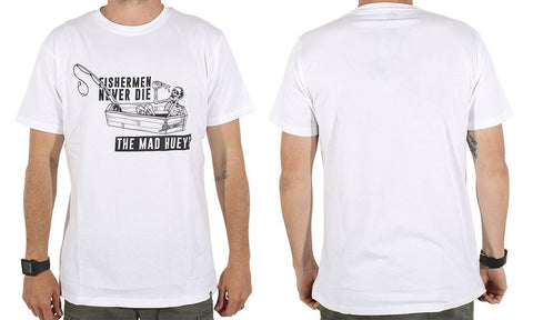 FISHERMAN NEVER DIE TEE WHITE
