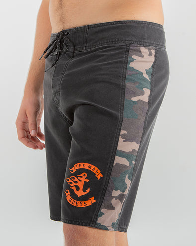 "FLAMIN ANCHOR BOARDSHORT 19"" - BLACK/CAMO"