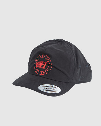 FLAMIN H UNSTRUCTURED SNAPBACK - BLACK