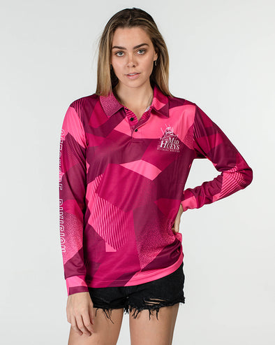 WOMENS OFFSHORE OCEAN CAMO UV LS FISHING JERSEY - PINK