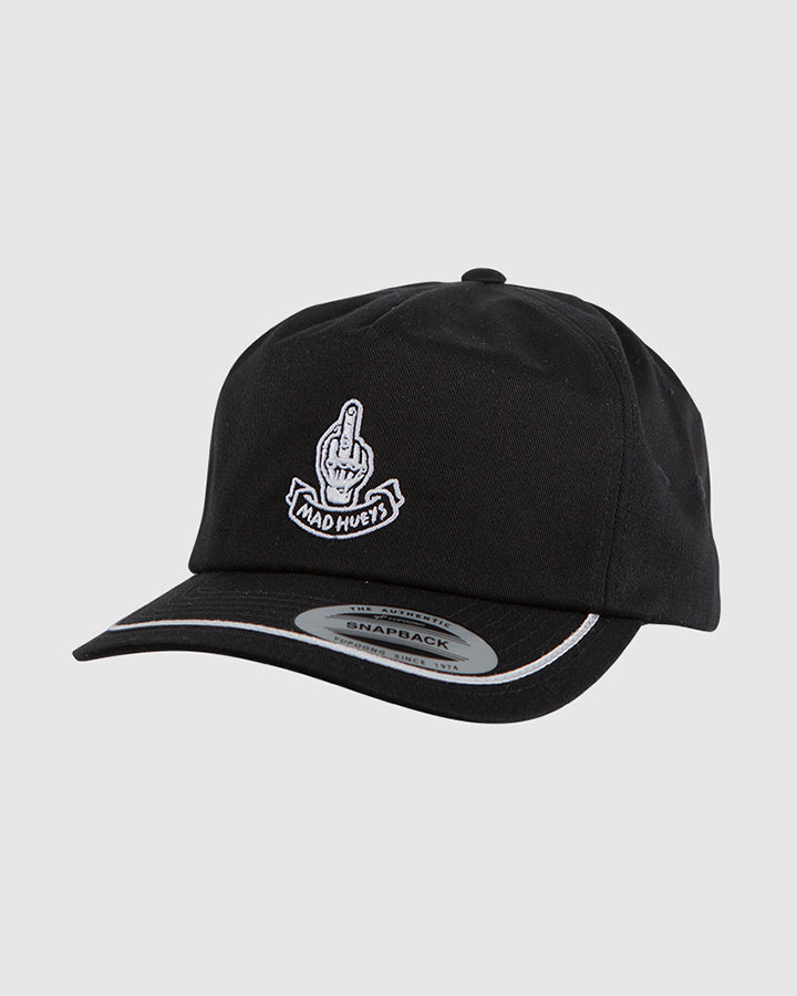 FINGERD UNSTRUCTURED SNAPBACK - BLACK