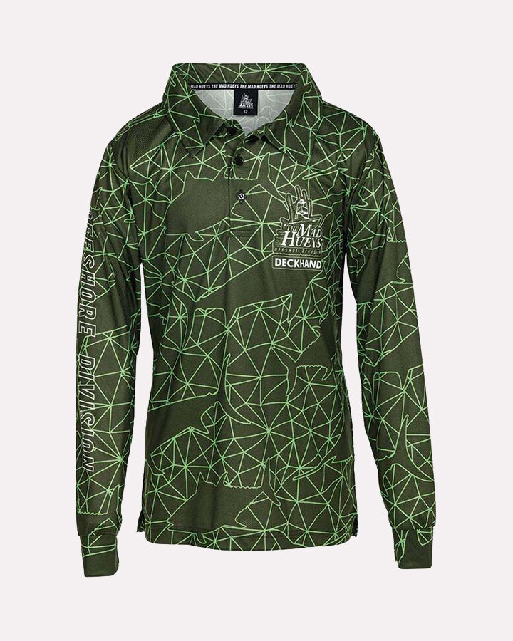 OFFSHORE TECH YOUTH UV LS FISHING JERSEY - GREEN