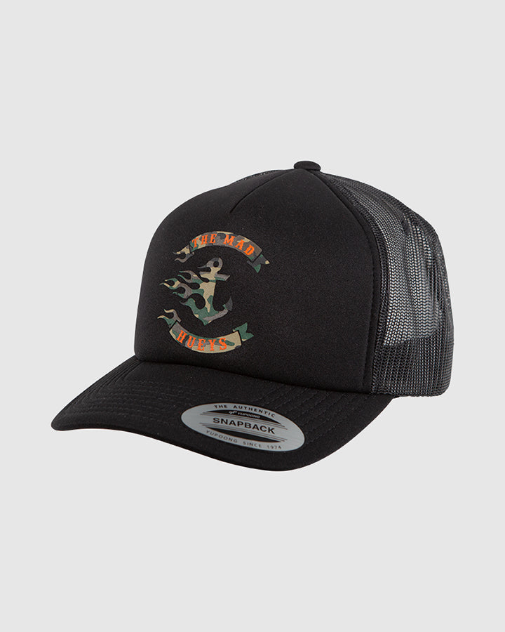 FLAMIN ANCHOR CAMO FOAM TRUCKER - BLACK
