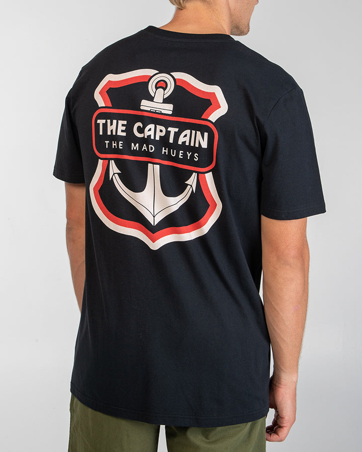 THE RETRO CAPTAIN SHORT SLEEVE TEE - BLACK