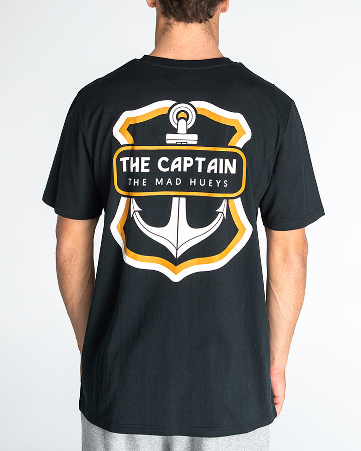 THE RETRO CAPTAIN SHORT SLEEVE TEE - BLACK / GOLD