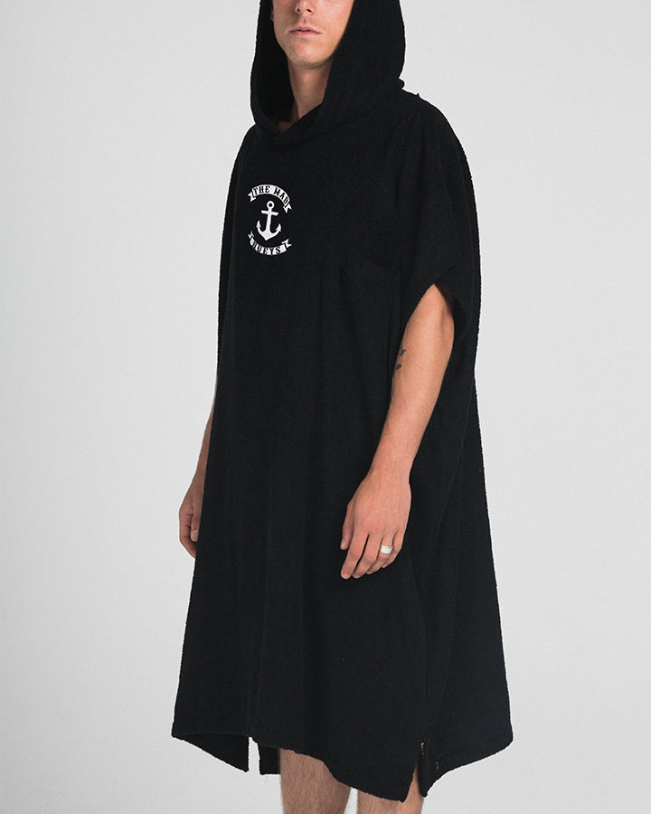 ANCHOR HOODED TOWEL - BLACK