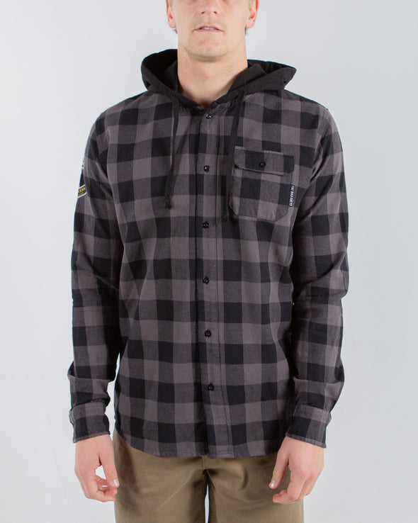 ALWAYS HOODED FLANNEL LONG SLEEVE SHIRT - GREY