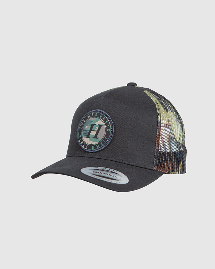 SOLID TWILL TRUCKER - BLACK/CAMO